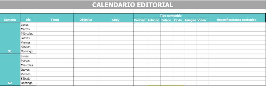 Ejemplo de Calendario de Contenidos